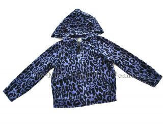 Baby Gap 3 3T BLEECKER Blue Leopard Print Velour Cat Ear Hooded