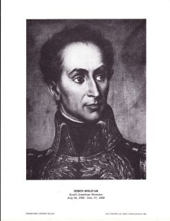 Simon Bolivar Souther American Liberator Vintage Portrait Gallery