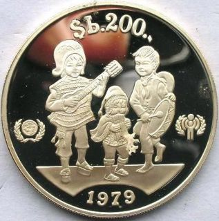 Bolivia 1979 Year of Child 200 Pesos Boliviano Silver Coin,Proof