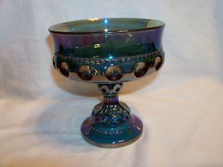 Crown Thumb Print Carnival Glass Blue Pedestal Compote/Candy Dish