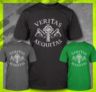 VERITAS AEQUITAS BOONDOCK SAINTS IRISH VIGILANTE PRAYER GUNS KILL T