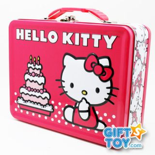 Sanrio Hello Kitty Pink Metal Tin Lunch Box  Birthday Cake