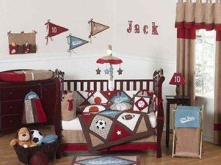 SWEET JOJO DESIGNS SPORTS BOYS BABY BEDDING CRIB SET FOR NEWBORN ROOM