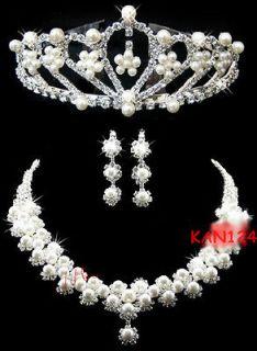 A1 BRIDAL WEDDING CRYSTAL BLING JEWELRY TIARA CROWN TIARA NECKLACE