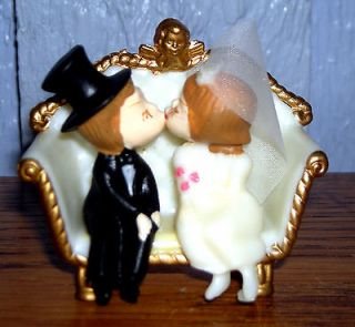 Tiny 1975 Wilton Wedding Cake Topper w/Kissing Bride & Groom Hong Kong