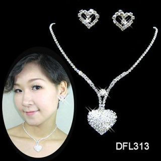 Bridal Bridesmaid Pageant crystal Love necklace earrings Jewelry