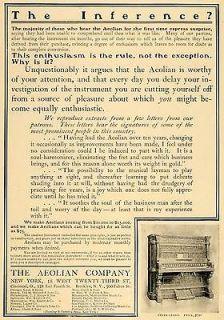 1901 Vintage Ad Aeolian Player Upright Piano Antique   ORIGINAL