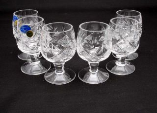 pc RUSSIAN CRYSTAL SHOT GLASSES VODKA COGNAC ON SHORT STEM