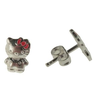 Toddler Baby Infants Hello Kitty Sterling Silver 925 Earrings Pink Bow
