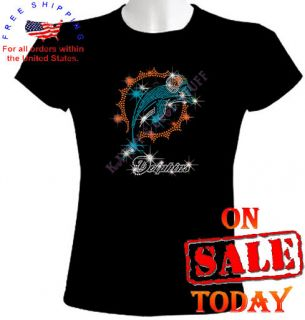 MIAMI DOLPHINS RHINESTONE T SHIRT sexy bling cute nfl black football
