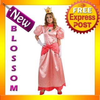Super Mario Bros Deluxe Princess Peach Fancy Party Dress Adult Costume