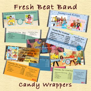 Fresh Beat Band Birthday Candy Wrappers 20 each Personalized Custom