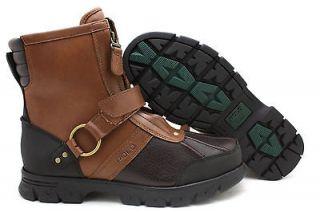 New Men Polo Ralph Lauren Conquest HI II Leather Boot Tan/Briarwood
