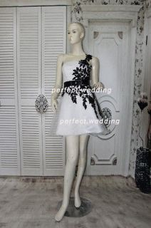 In Stock White Organza Black Lace Short Cocktail dress/Prom gown Sz 6