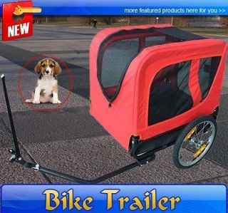 New Deluxe Pet DOG BIKE Bicycle Trailer PET CARRIER Red Black Pet