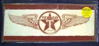 Texaco Gasoline Metal Sign Wing Logo Gas Station Garage