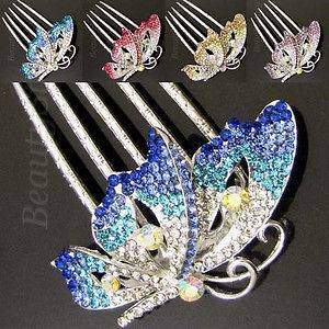 Item  rhinestone crystal butterfly French twist hair comb