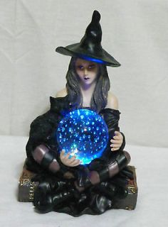NEW HALLOWEEN WITCH & BLACK CAT LED CRYSTAL BALL GLASS COLOR CHANGING