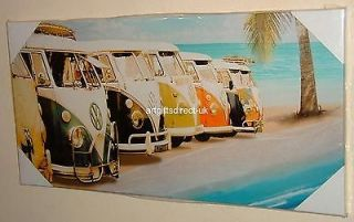 BEAUTIFUL RETRO VW CAMPER VANS VW BUS TROPICAL BEACH CANVAS WALL ART