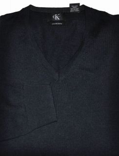 New CALVIN KLEIN Mens V Neck 100% Merino WOOL Pullover SWEATER   Black