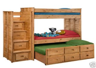 304A;3014T   Twin Triple Loft Bunk Bed   Includes Staircase
