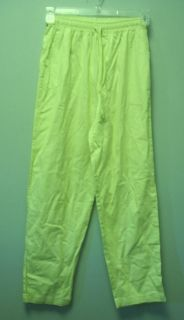 CABIN CREEK Womens Lime Green Yellow Casual Elastic Waist Cotton Pants