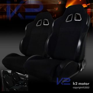 BLACK CLOTH PVC LEATHER RECLINABLE SPORT RACING SEATS CHEVY CAMARO