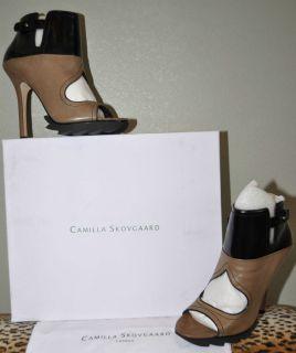 Camilla Skovgaard Brown Black Leather Ankle High Heel Open Boots NIB
