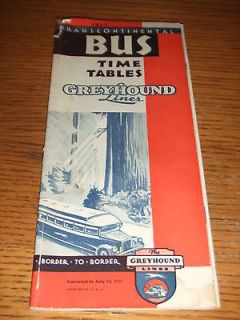 RARE 1931 Greyhound Bus Lines Transcontinental Bus Time Tables