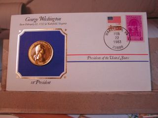 Bronze George Washington Presidential Medal Gold Plated in Stamped