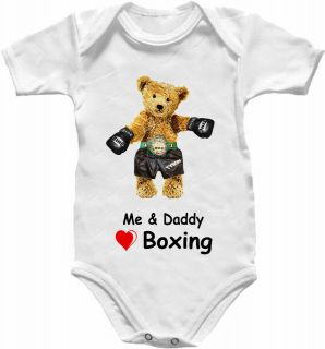 Boxing Teddy Bear Baby Grow Shirt Babygro Glove Top Vest Heart Daddy