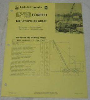 Link Belt Flysheet 1973 UC 78B Crane Specs Brochure