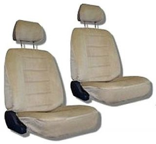Tan Quilted Velour Car Auto Truck Seat Covers w/ Head rest Covers #5