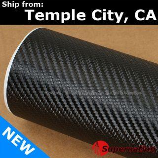60 X 59 In 3D Real Carbon Fiber Vinyl Wrap Sticker Roll Film Black 152