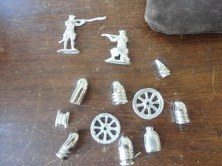 MIXED LOT TOY REVOLUTIONARY WAR LEAD SOLDIER BULLETS WHEELS CANTEEN