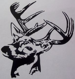 HUNTING   DEER HEAD (FACING LEFT) VINYL GRAPHIC CAR DECAL