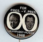 HUBERT HUMPHREY & EDMUND MUSKIE 1 1/4 JUGATE PICTURE CAMPAIGN BUTTON