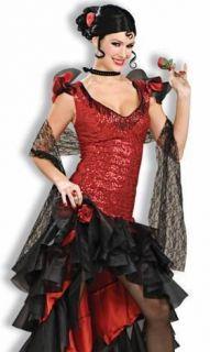 Sexy Fancy Dress Halloween Costume Spanish Flamenco Dancer Outfit