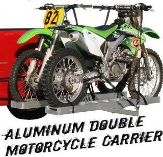 MOTORCYCLE DUAL DIRT BIKE HITCH CARRIER HAULER RACK+RAMP (AMC 600 2