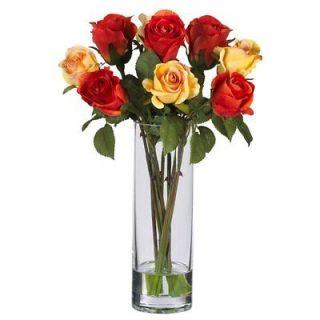 Nearly Natural   Roses w/Glass Vase Silk Flower Arrangement