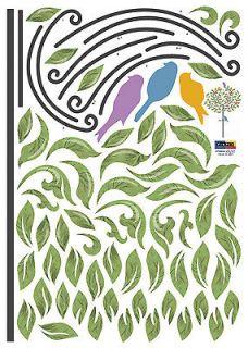 Steel Tree Bird Perch Instant Art Home Decor Wall Sticker Decal Sheet