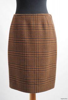 UK10 ~ CATHERINE WALKER Brown Tweed Wool Dogtooth Knee Length Pencil
