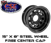 15500.01 Rugged Ridge BLACK Steel Wheel 15X8 5x4.5 Jeep Wrangler