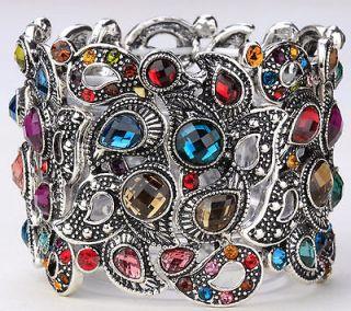 Vintage multi swarovski crystal stretch bracelet A3 ;buy 10 items free