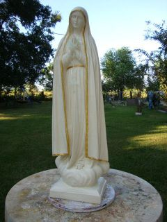 VIRGIN MARY OF FATIMA CONCRETE/CEMENT STATUE IVORY/GOLD SATIN PAINT