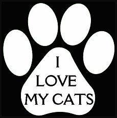 Love My Cats Paw Print Vinyl Decal CATS Car Window Carrier Cage