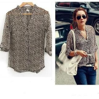 Sexy Casual Women Leopard Print 3/4 Sleeve Ladies Chiffon Blouse T