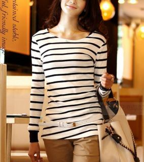 Womens Striped Cotton Long Sleeve T shirts Crew neck Casual T Shirt
