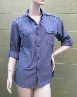 KillCity Women Blue Chambray Millitary Shirt S XL