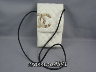 Authentic Chanel White Cambon Lamb Leather with Python Cross body Bag